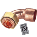bend copper tap connector with seal and flange for gasket aenor