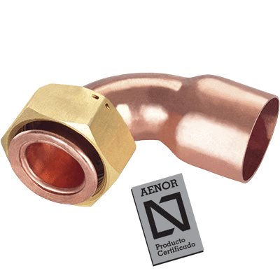 bend copper tap connector with seal and joint plat aenor
