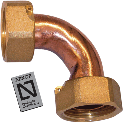 double bend nut f f copper tap connector with seal and flange for gasket aenor