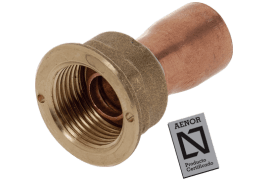 straight copper tap connector with seal 20.150 and flange for gasket aenor