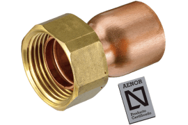 straight copper tap connector with seal and flange for gasket aenor