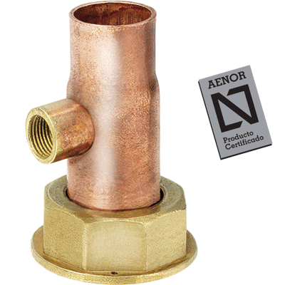 straight copper tap connector with seal and flange for gasket with purger 1/4 aenor