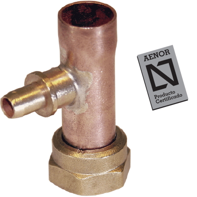 straight copper tap connectors with purger aenor